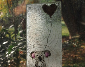 Koala with Heart Glass Window Picture   Personalizable by name engraving in the gold heart   Gift for Birth, Baptism, Wedding, Birthday