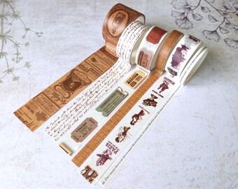 Batch of 5 masking tape, washi tape, bullet journal, scrpbooking, junk journal - 6 rolls of masking tape vintage style