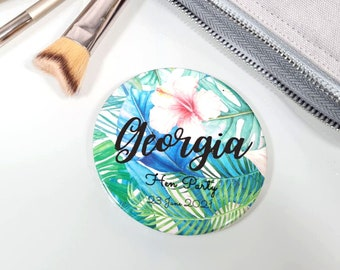 Personalized Compact Mirror Tropical Pocket Mirror, Personalised Bridesmaid Mirror Gift, Custom Hen Party Name Pocket Handheld Mirror