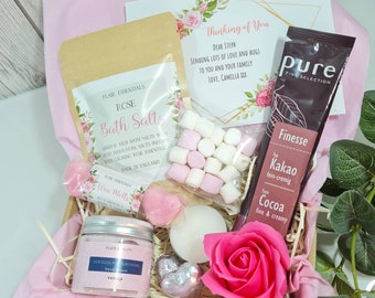Personalised Hug in a Box Self Care Package Box Friend Birthday, Rose Pamper Box Gift Box for Her, Thinking of You Mini Spa Gift Box