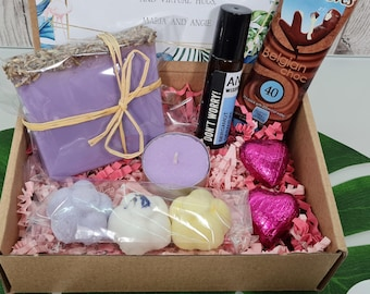 Hug In A Box Pamper Self Care Gift   Handmade Soap Aromatherapy Blend Roll-on   Best Friend Birthday Gift