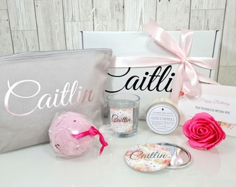 Personalised Gifts Pamper Box Spa Box Birthday Gift For Best Friend Self Care Package, Mum, Sister Luxury Hamper Cheer Up Gift - Rose & Gold