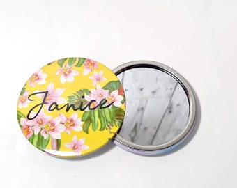 Personalized Compact Mirror Tropical Yellow Pocket Mirror, Personalised Bridesmaid Mirror Gift, Custom Hen Party Name Pocket Handheld Mirror