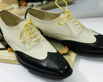 Bespoke Goodyear Welted White & Black Leather Wing Tip Brogue Dress Formal Lace Up Shoes For Men's