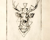 Greetings Card - Stag Etching