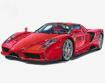Ferrari Enzo Art Print - Drawing as Poster Artwork - Gift Idea for Men