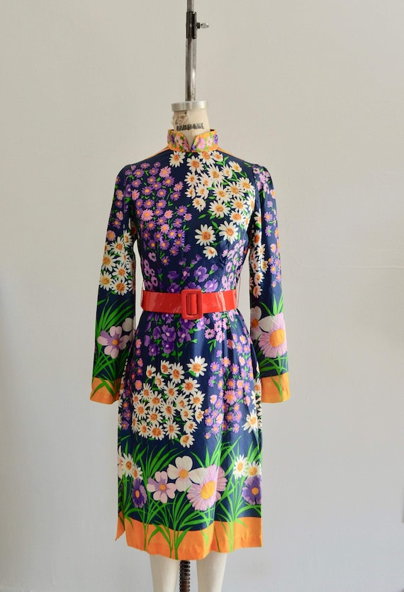 1970 Mod Lillie Rubin Psychedelic Floral Print Max