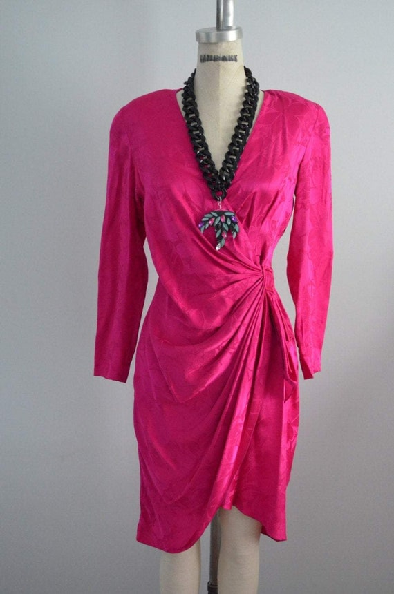 80S Hot Pink Ruched Wrap Jacquard Silk Secretary D