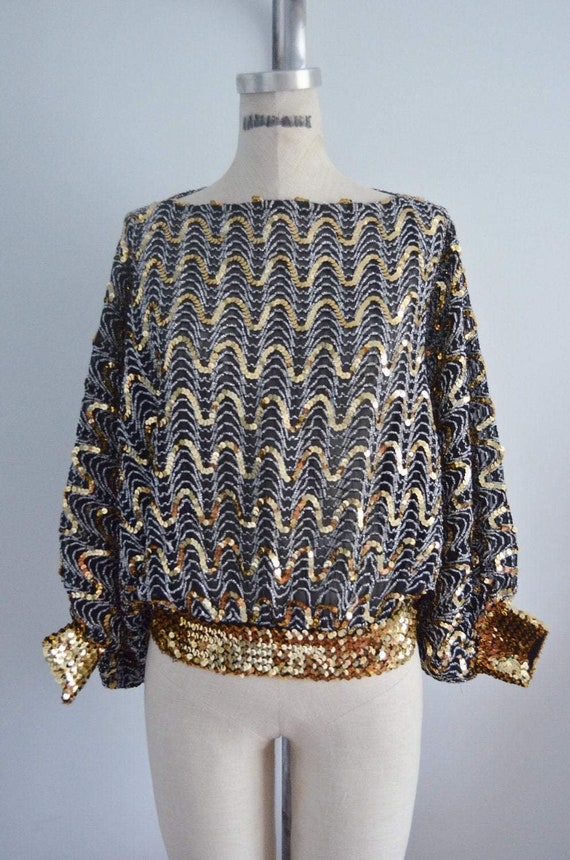 70S Glam Sequined And Beaded Batwing Disco Top Blo