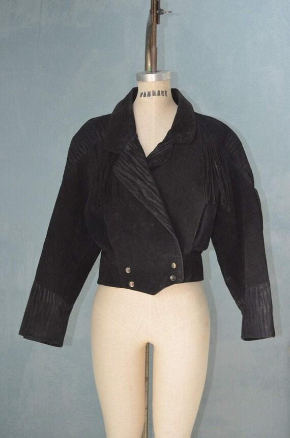 Black Suede Leather Fringe Navajo Biker Jacket