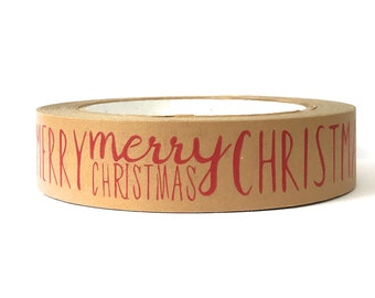 Kraft Paper Tape Self-Adhesive Christmas Inspired 25mm x 50M Fully Recyclable Eco-Friendly Merry Christmas Design Made in The UK