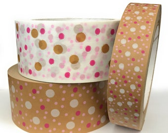 Kraft Paper Packaging Tape Self-Adhesive Polka Dot Designs 24/ 48mm x 50M Fully Recyclable Ideal for Packaging Boxes Wrapping Made in UK