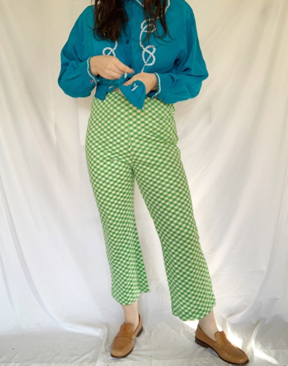 Vintage 1970s Lime Green Gingham Flare Pants High