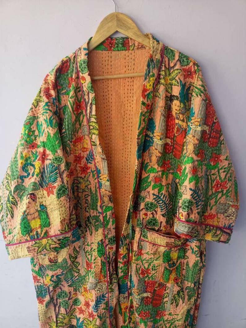cotton kimono bath robe stitched kimono night wear dress plant and tree kimono New indian handmade frida kahlo kantha quilt kimono robe