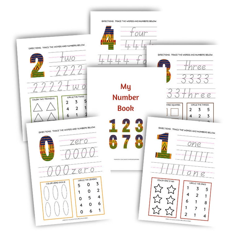 African Print Tracing Words and Number Bundle  Stationery image 1