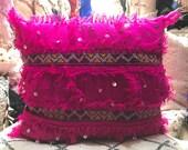 Handira Moroccan Cushion, Handmade pillow, Moroccan Wedding Blanket Pillow, Authentic cushion, Wedding cushion, Trow pillow