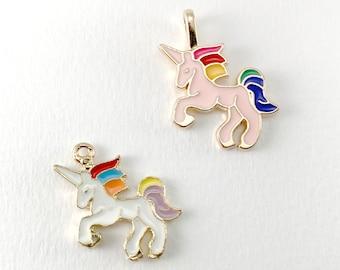 2 Unicorn Charms - Gold Unicorn Charms - Enamel Unicorn Charm