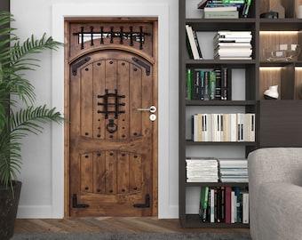 Wooden Rustic DOOR Decal, Peel & Stick Vinyl, Vintage wood and rivet decor, any room door mural, wrought iron and wood, CUSTOM SIZE