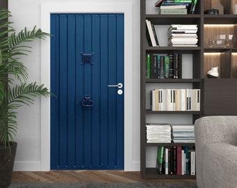 Blue Rustic DOOR Decal, Peel & Stick Vinyl, Vintage wood decor, any room door mural, CUSTOM SIZE