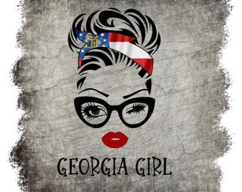 Mississippi Girl wild nights and party lights download PNG just a small town girl sublimation Winking girl with state flag head scarf