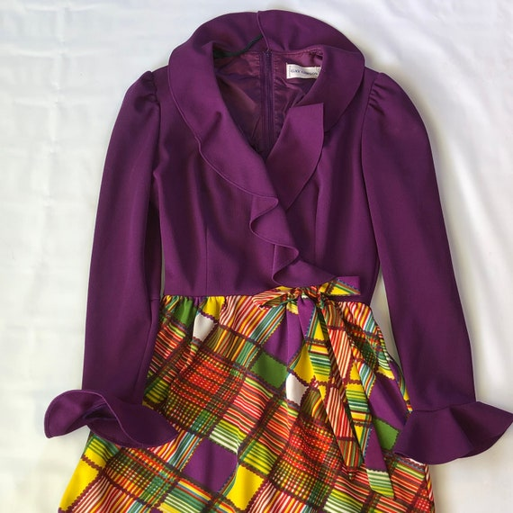 Vintage 60's Gay Gibson purple fall scarecrow dres