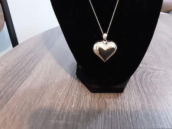 14k puffed heart pendant with chain