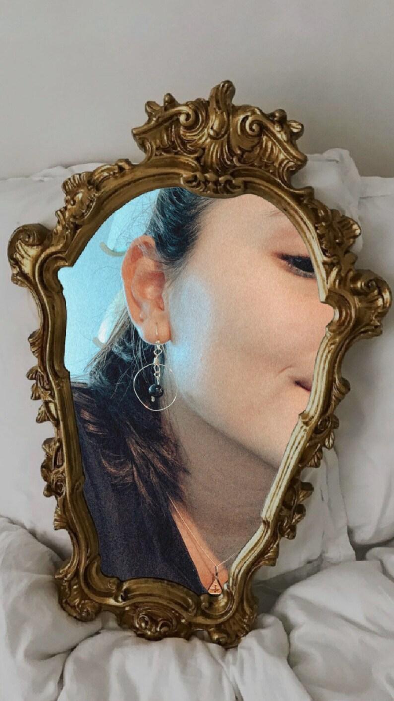 Gold /& Black Pearl Hoop Earrings Dainty Hoop Earrings Open Circle Earring Handmade