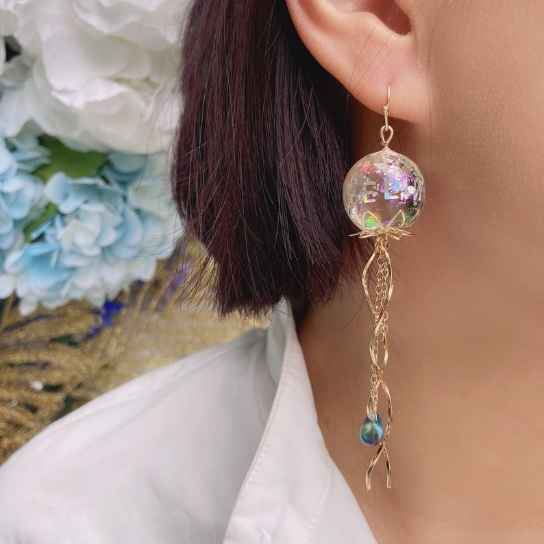 Custom Name Jellyfish Earrings\uff0cSpecial Design Earrings\uff0cSea Life Crystal Jewelry\uff0cSingle Earrings Personalised gift