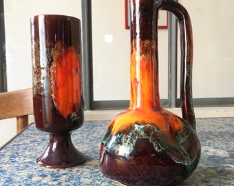 60/'s. Sugar Bowl red Interior Faux-bois Vallauris
