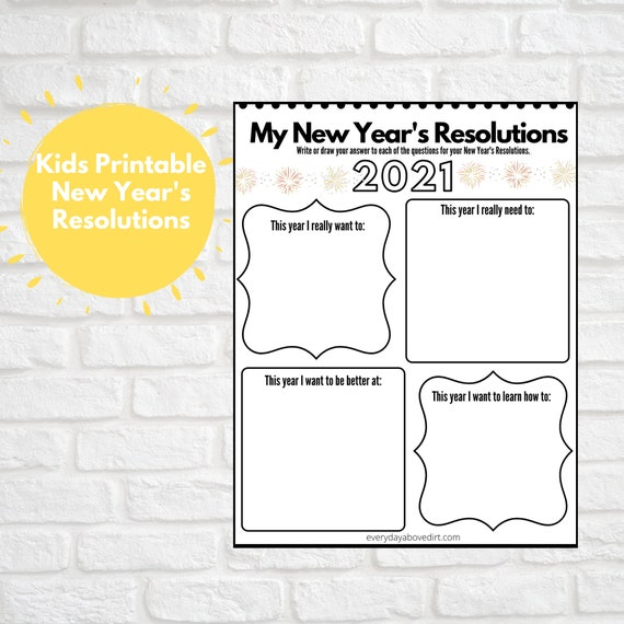 Printable New Year's Resolutions for Kids Kids Coloring