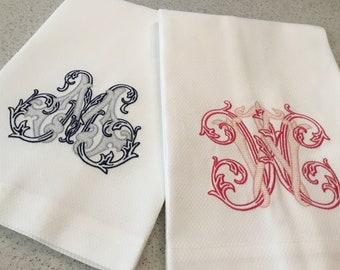 Vintage Vine Monogrammed Towel, Monogram Towel, Vine Monogram, Guest Towel, Hand Towel, Hostess Gift, Monogrammed Towel