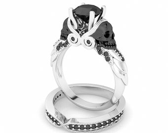 Rock n Roll Engagement Ring Set Skull Wedding Ring Set Dark Bridal Set Skull Anniversary Ring Goth Wedding Set