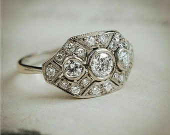 Art Deco RIng, 1 Ct Round Cut Diamond Ring, White Gold Plated Vintage Wedding Anniversary Ring for Women's & Girl's, Art Deco Jewellery