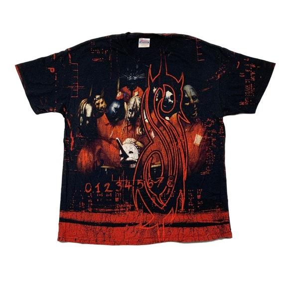 Vintage y2k Slipknot Self Titled All over Print Ts