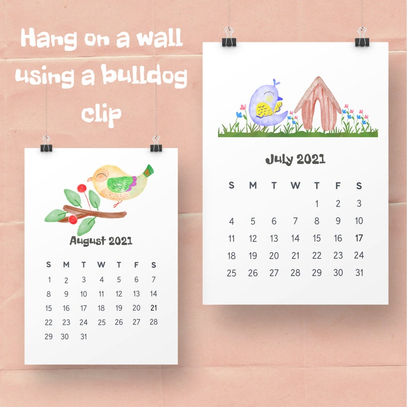 2021 Printable Calendar/5x7 Desk Calendar/ Monthly ...
