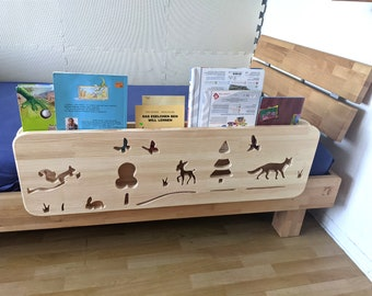 2in1 _ Bookcase & Fall Protection _ Made of WOOD with FOREST Motif, Montessori Bed Protection / Ragal