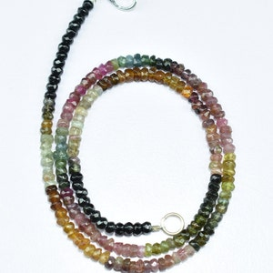 Natural high quality multi tourmaline rondelle faceted gemstone beads necklace 17/'/' inch strand 3mm.