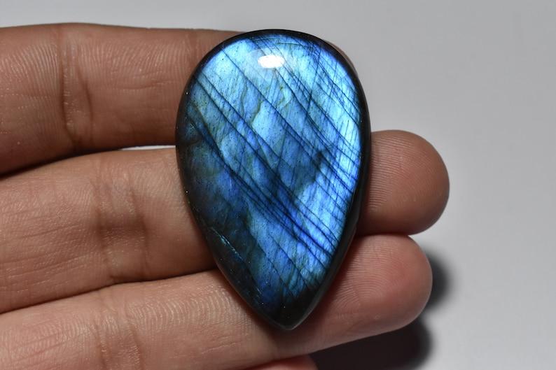 76 Cts Labradorite Loose Gemstone Cabochon 28\u00d743\u00d77.5MM Beautiful Natural Labradorite Pear Shape Blue Flashy Cabochon
