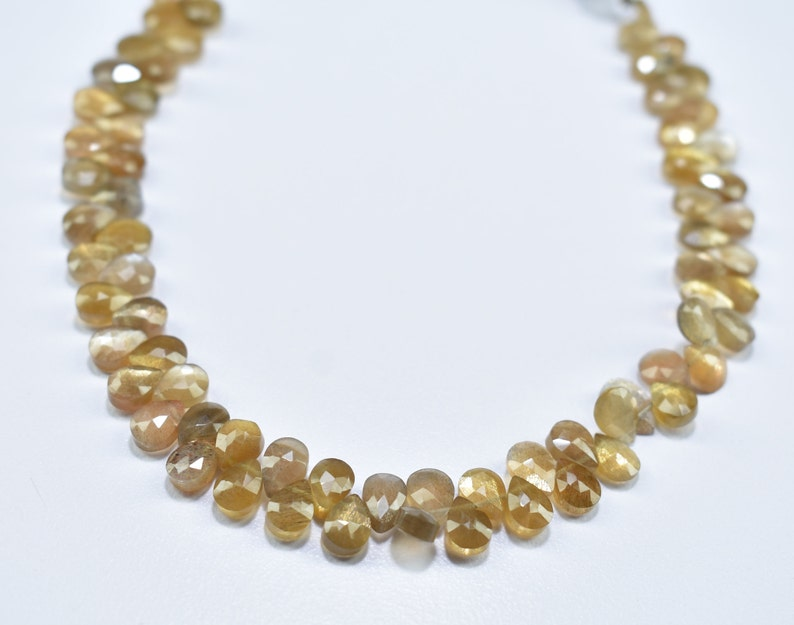 5.75X7.75MM Natural Golden Shine Moonstone Faceted Pear Shape Gemstone Briolette Beads 8 Inch Strand  5X7MM Moonstone Pear Faceted Beads