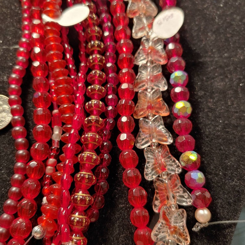 Jewelry and Beading Components. 6 oz Mixed Lot Single Color Glass Bead Strands Different Size and Color from Crystal to Milifiore