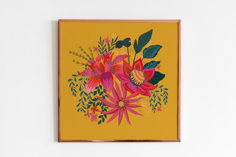 Yellow Flower Illustration 12x12 Square print. New Home Gift Bright Botanical Wall Art Colourful Floral Home Decor Gallery Wall