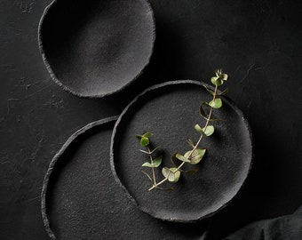Black Dinnerware Set for Food Photography | Dishware Set for Prop Styling | Matte Black Plates for Low Key Photography | Crockery Set