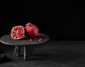 Black Ceramic Cake Stand for Food Photography | Matte Black Cake Holder for Food Styling | Black Dessert Stand for Candy Bar