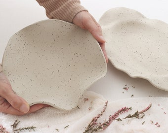 Dotted Oval Platter and Round Bowl | Handmade Ceramic Bowls for Chefs | Matte Bowls for Food Photography