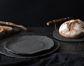 Set of 2 Handmade Ceramic Plates | Matte Black Dinnerware Set for Food Photography | Rustic Dishes for Chefs | Dishware Set for Prop Styling