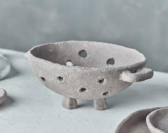 Kitchen Strainer | Matte Grey Colander Bowl | Small Colander for Prop Styling and Food Photography | Ceramic Colander Strainer