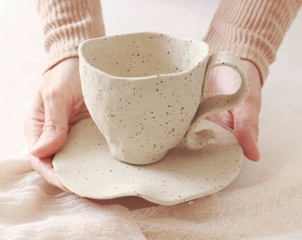White Matte Teacup and Plate | Speckled Coffee Mug with Saucer | Teacup and Saucer | Handmade Ceramic Cup and Saucer Set | Breakfast Set