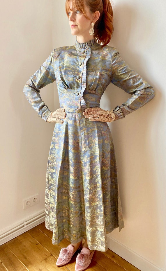 Vintage 1940s Brocade Hollywood Dress