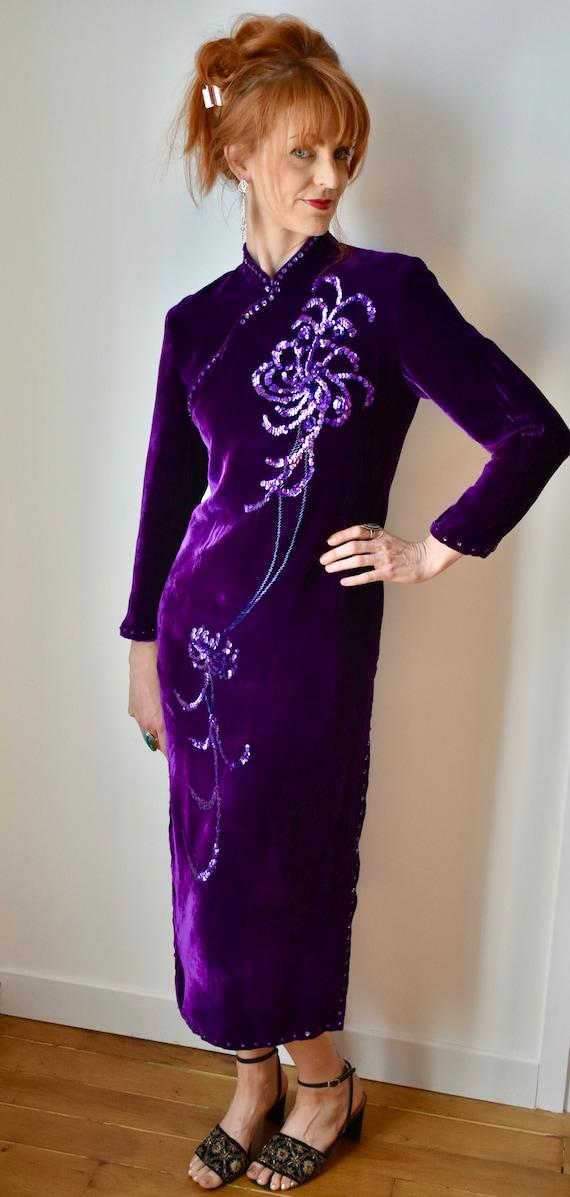 Vintage Velvet Cheongsam Dress