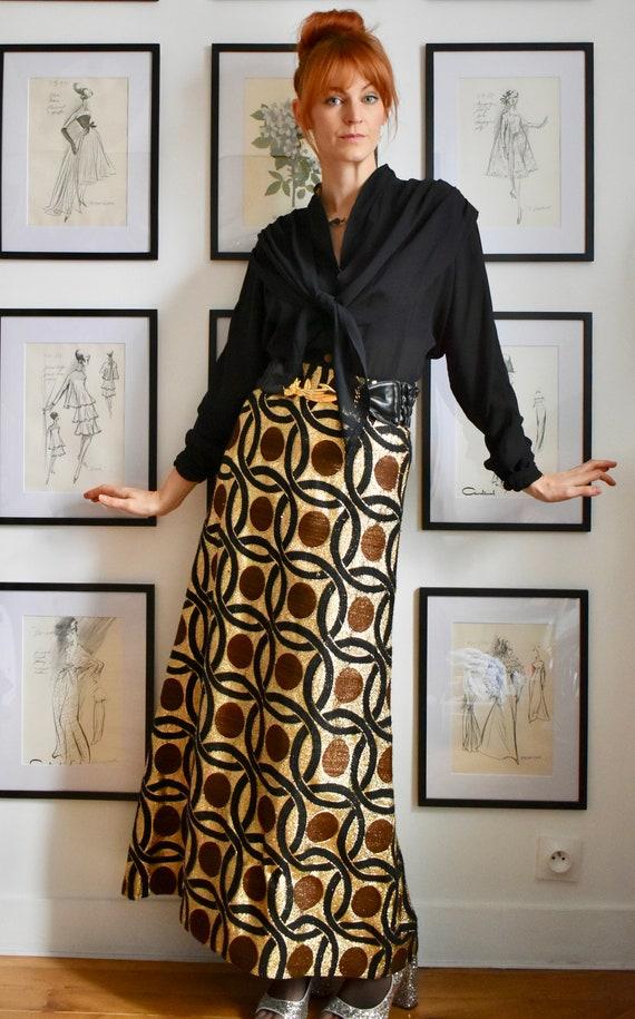 Swinging 60's Vintage Metallic Long Skirt